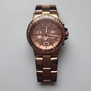 Michael Kors Rose Gold-tone Baguette Bezel Watch